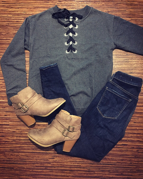 Sailor Tie Top in Charcoal