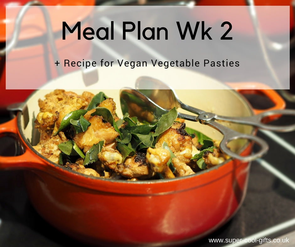 Meal Plan Week 2 & Recipe for Vegan Veggie Pasties