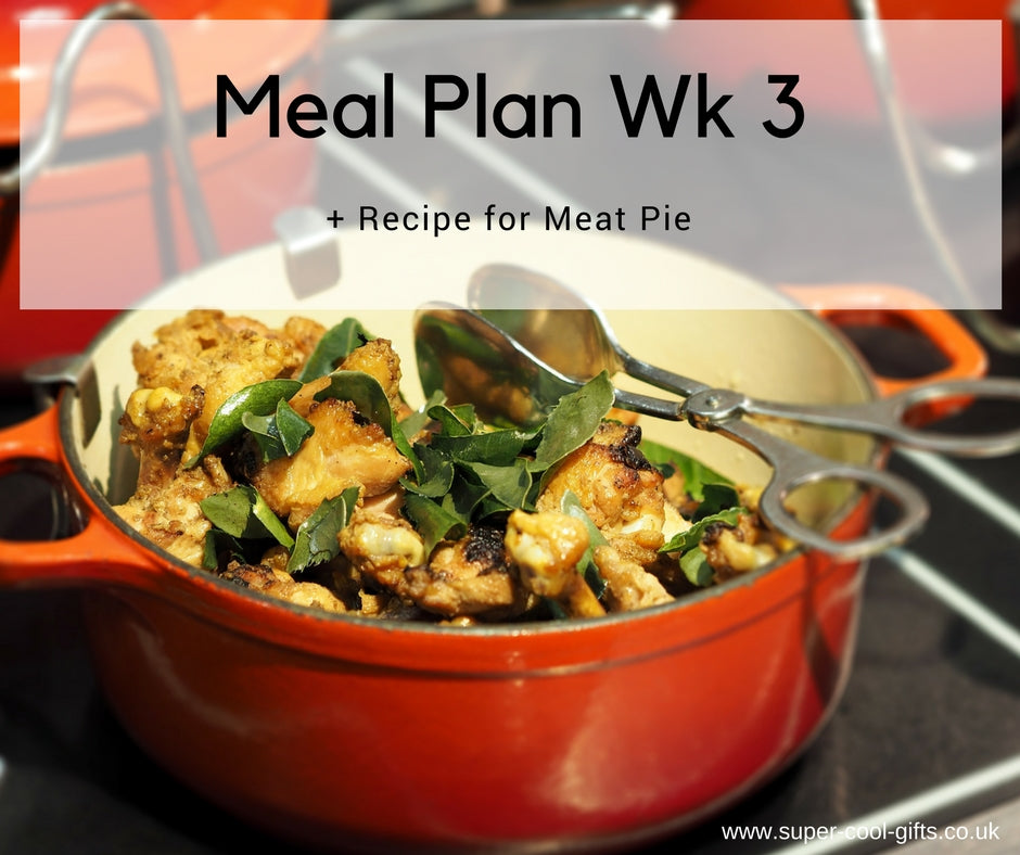Meal Plan Week 3 & Recipe for Meat Pie