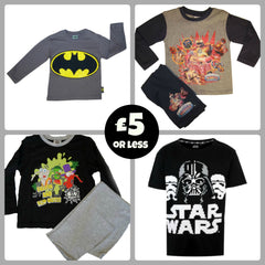 batman, skylanders, bin weevils, pyjamas, star wars t-shirt,