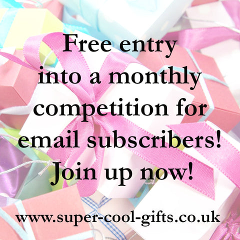 free entry into a monthly competition to win a prize for email newsletter subscribers of super-cool-gifts selling discounted family fashion