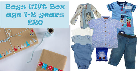 baby boys gift box featuring a whole range of baby clothing for a fantastic £20