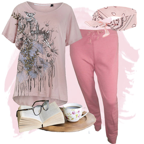 lazy sundays joggers jogging bottoms and t-shirt combination casual wear ladies