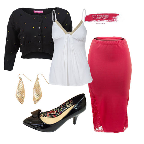 valentines outfit idea classy sexy pencil skirt cute patent kitten heel shoe