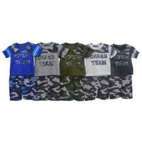 Boys 2 piece set shorts t-shirt top motorbike camouflage 2 4 6 8 10 elasticated