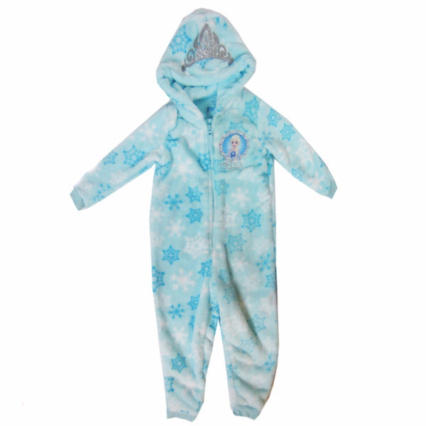 Girls Boys Kids Super Soft Fleece all-in-one zip up pyjamas animal 1-14 years