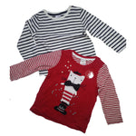 Girls 2 Pack Cat Top T-shirt Bow Tie Red Black Kitten age 0-3 yrs Baby stripe