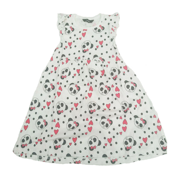 Girls Panda Hearts Dress 100% Cotton 18/24 M 2/3 3/4 Years Summer White