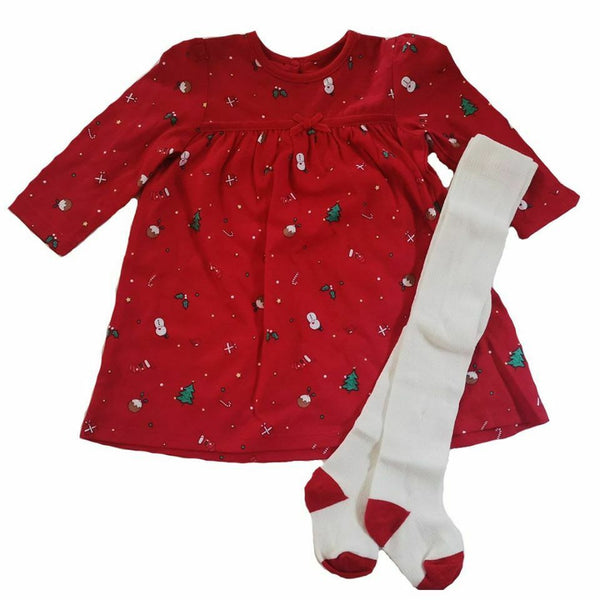 Christmas Dress & Tights 100% Cotton Red Outfit xmas size NB - 18m Party