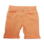 Neon Orange Denim Shorts Adjustable Waist age 3-12 yr