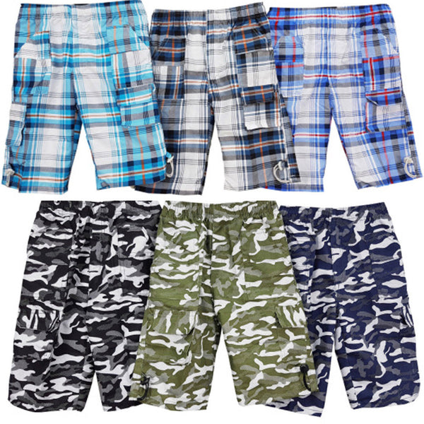 Boys Shorts Check Camouflage Blue Khaki Black age 4-14 Holiday Summer