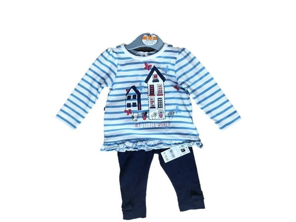 Baby Girl Top and Leggings set 0/3 3/6 6/9 9/12m leggings blue stripe