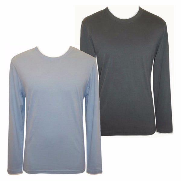 Mens Blue Grey Long Sleeves T-shirt Top Crew Neck S M L 100% cotton