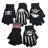 Boys Girls Kids Magic Gripper Gloves skull one size black white fingerless