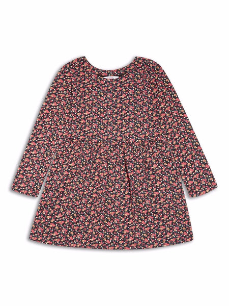 Girls long sleeved red flower floral dress age 2/3 3/4 4/5 5/6 6/7 7/8 yrs