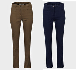 Ladies Twill Cotton Trousers Blue Brown 10 12 14 16 18 20