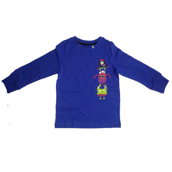 Boys Monster Long Sleeved T-shirt Top age 2-10 yrs Blue