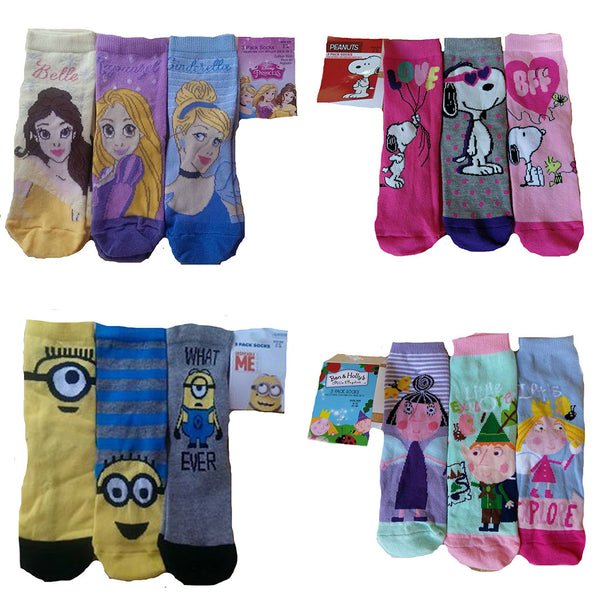 Boys Girls 3 Pack of Socks Character Disney Princess Minion Snoopy Ben & Holly