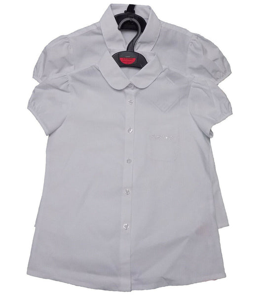 2 Pack School White Blouse Shirt Sport age 2-12 years cap sleeves