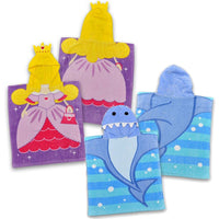 Boys Girls Shark or princess Hooded Towel Poncho Style Swimming age 2-6 years