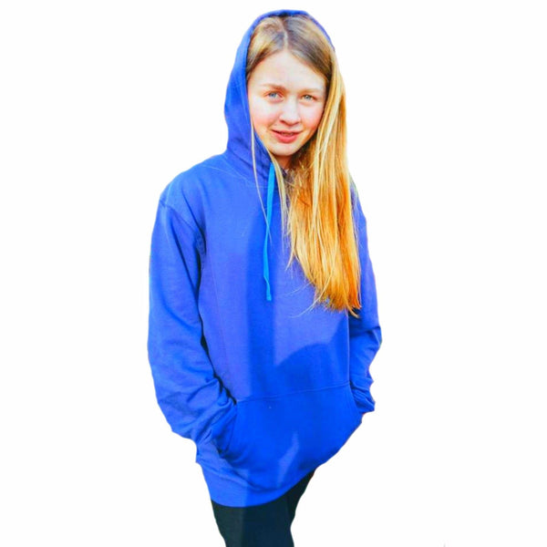 Ladies Mens Blue Green Pink Hoodie Jumper Sweater thick cotton S M L XL XXL