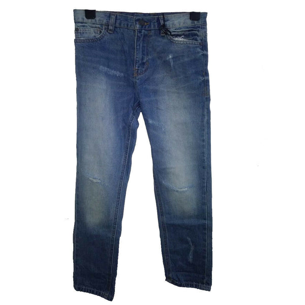 Boys Distressed Quality Blue Jeans Slit Knee Adjustable Waist 11-16 yrs