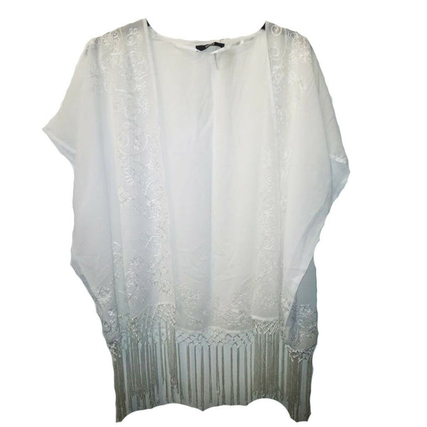 Ladies Cream Luxury Embroidered Kimono Shrug One Size Wrap Cover Up Fringe