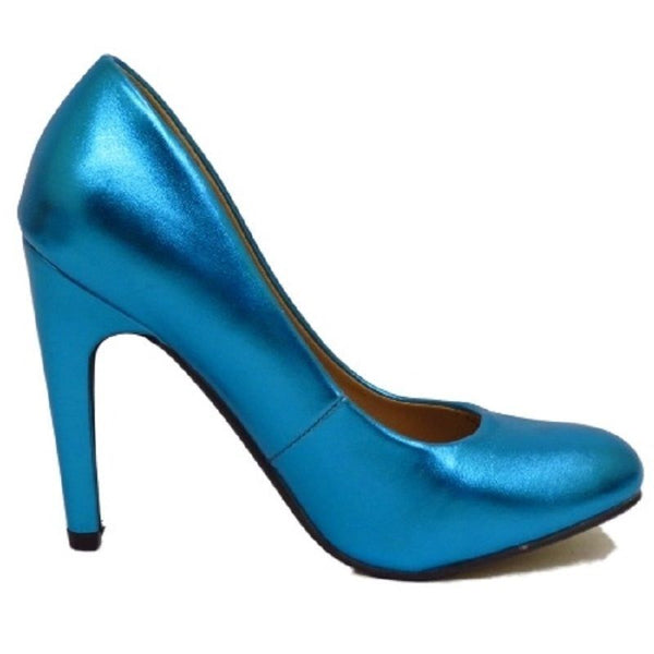 Ladies pink blue metallic satin look court shoe ex-ASOS 3/4/5/6/7