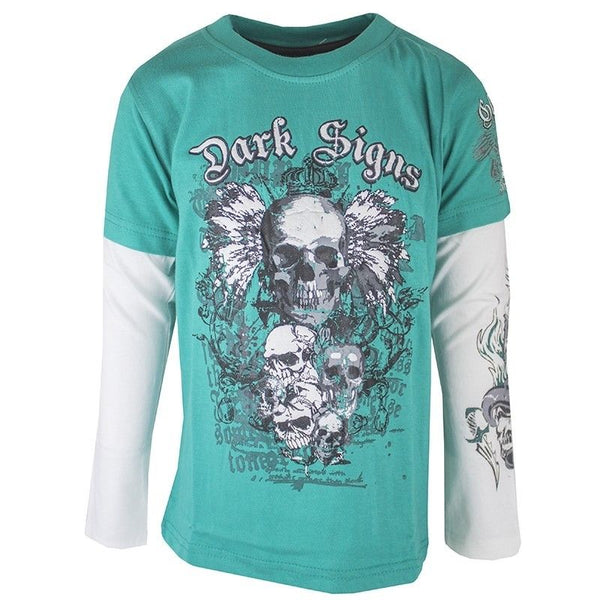 Boys Dark Signs Skulls Long Sleeved T-shirt Top age 6 7 8 10 years Green