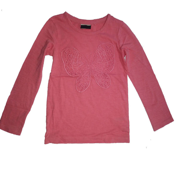 Girls Peach Butterfly Top T-Shirt Top age 3-16 years embroidered