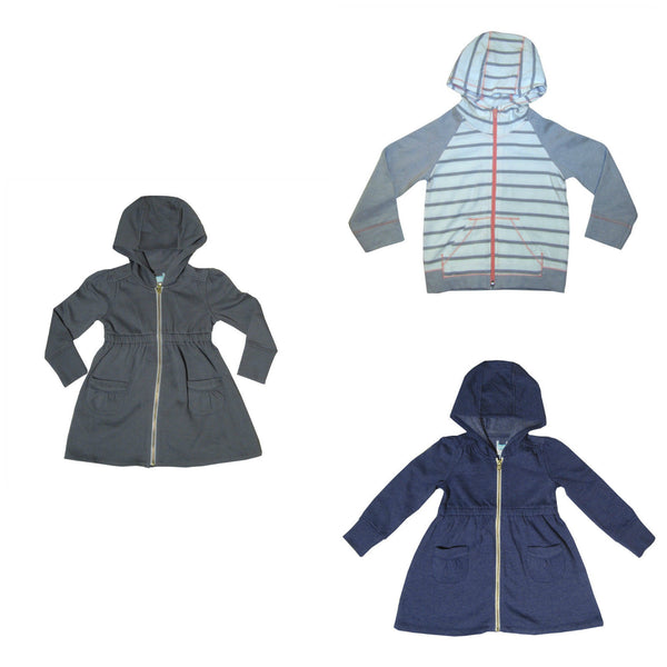 GIRLS Blue Grey Stripey cardigan zip hood age 1 2 3 4 5 hoodie light jacket coat