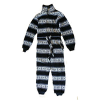 Girls Nordic Design Navy White Soft Fleece All In One Pyjamas 7/8 9/11 years - supercoolgifts