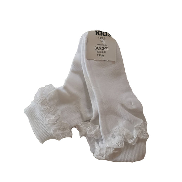 Pack of 2 White Frilly Ankle Socks size infant 3.5 - adult 3.5