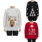 Girls Christmas Reindeer Jumper age 5/6 8/9 9/10 10/11 fluffy knitted xmas