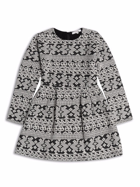 Girls long sleeved patterned dress age 2/3 3/4 4/5 5/6 6/7 7/8 yrs black white