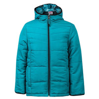 Girls Teal Padded Coat Jacket zip age 9-14 years with Hood