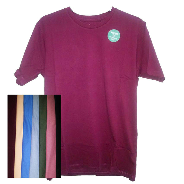 Mens Plain 100% Cotton Ex High Street T-shirt Top S-3XL Quality Burgandy Blue
