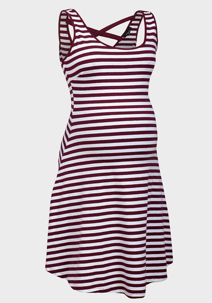 Ladies Burgandy Wine Red Stripe Maternity Dress 10 12 14 16 pregnancy wear
