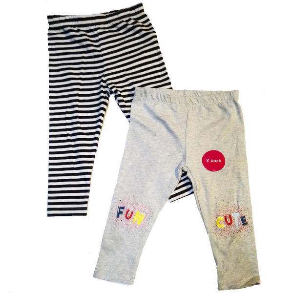 Girls 2 Pack Leggings Stripey cute fun age 12/18m, 18/24m, 2/3 3/4 4/5 5/6 yrs