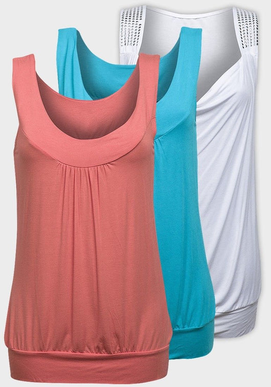 Ladies sleeveless top white pink blue 10/12 14/16 18/20