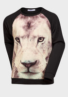 Girls Lion Print Long Sleeved Black Top T-shirt age 10 12 14 years - supercoolgifts