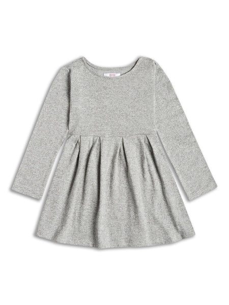 Girls long sleeved grey marl knit dress age 8-14 yrs