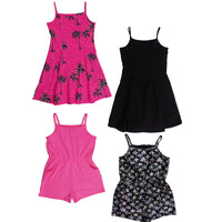 Girls 2 Pack of Dresses or Playsuits pink black age 5-15 yrs holiday summer