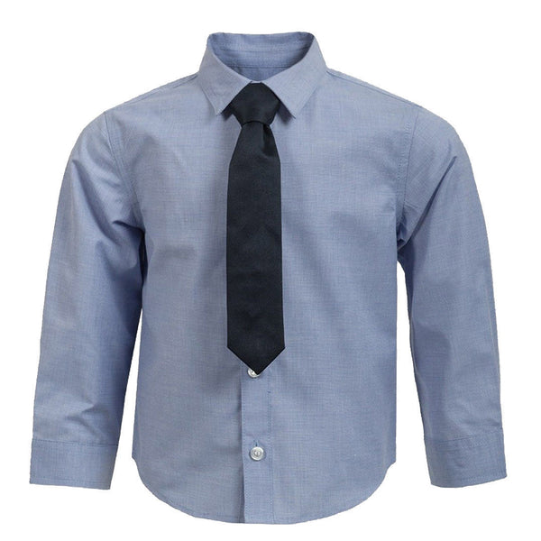 Boys Smart Blue Shirt with Tie ages 2-8 long sleeves wedding party formal