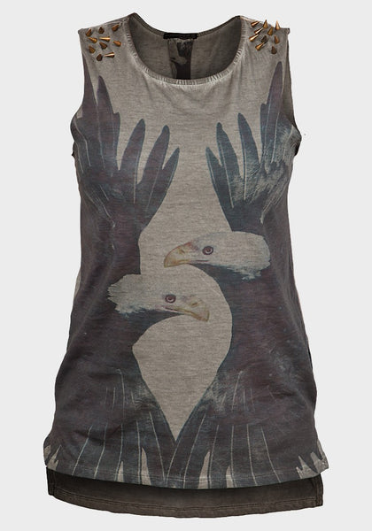Ladies sleeveless vest top with studs grey khaki eagle skeleton summer