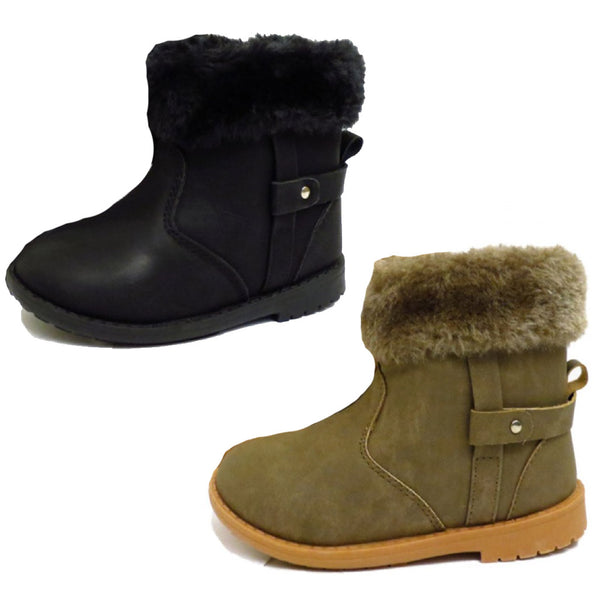 Girls Black Brown Ankle Boots 5 6 7 8 9 10 11 12 13 1 2 faux fur zip