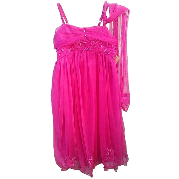 Girls Pink Occasion Dress age 1-12 yrs with wrap/scarf long length wedding party