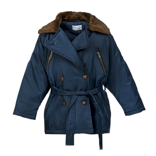Girls Navy Ex Adams Coat Jacket age 4 5 6 8 9 with faux fur trim