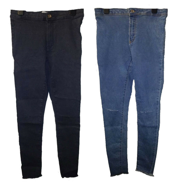 Girls slit knee ankle grazer skinny stretch Blue Black Denim Jeans age 5-14 yrs