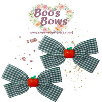 "2 x 4"" 10cm Gingham Navy Green Red Hair Bows Alligator Snaps Pony Handmade UK"